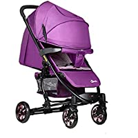 ZELIAN La Carretilla Infantil púrpura Ligera Plegable Alta Paraguas del Paisaje del Coche Multifunción Puede Sentarse