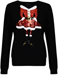 Heart & Soul Women's Sequin Knitted Christmas Jumpers