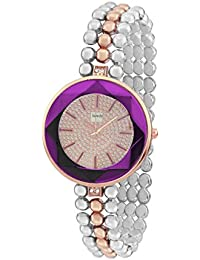 Howdy Crystal Studded Rose Gold Dial With Purple Glass Analog Watch With Multicolour Stainless Steel Chain