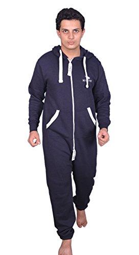 Neufitter Herren Jumpsuit jogger jogging anzug Overall Onsie Traininganzug (L, Navy Blau)