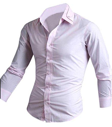 jeansian Herren Freizeit Hemden Shirt Tops Mode Langarmshirts Slim Fit 8614 Pink