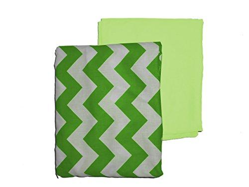 (Baby Doll Bedding 2 Piece Chevron Sheet Set, Green)