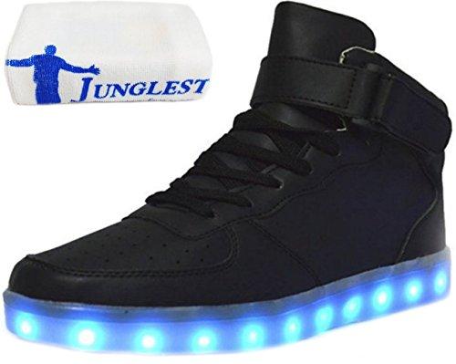 [Presente:piccolo asciugamano]JUNGLEST® , 7 colori alla moda, unisex, da uomo, donna, carica USB Scarpe luminosi luce LED lampeggiante Scarpe da camminata alto sopra LED calzature per lo s nero - nero