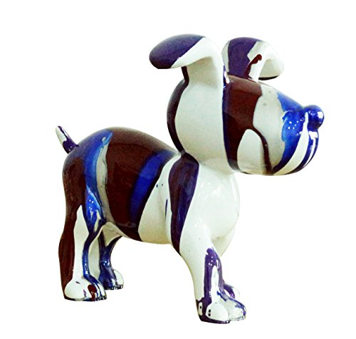 Decorative sculpture of blue and brown puppy, modern and contemporary design