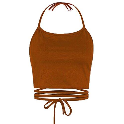 BHYDRY Frauen ärmellose rückenfreie Weste Halter Tank Tops Bluse T-Shirt -