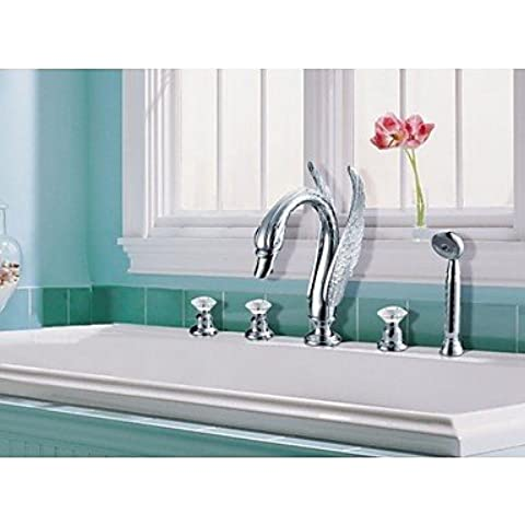 orgfs rubinetti cristallo maniglie cromate cascata vasca rubinetto (s-1010001) bagno rubinetti