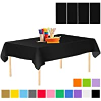 Aneco 4 Pack Plastic Tablecloth Disposable Tablecloths Rectangle Table Cloths Table Covers 54 x 108 Inches for Indoor or Outdoor Parties Birthdays Weddings Christmas