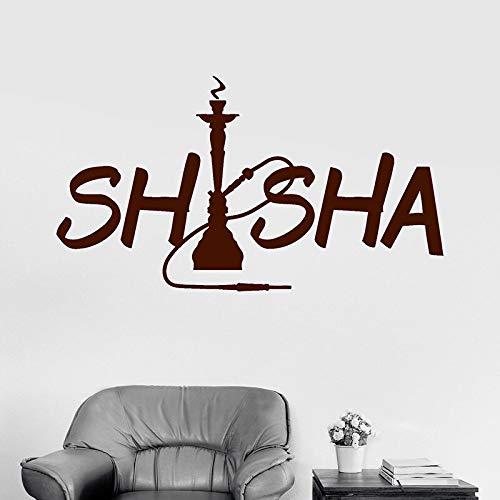 Shisha Rauchen Wandtattoos Für Shisha Bar Abnehmbare Wandaufkleber Für Shop Wandkunst Vinyl Tapete 56X101CM