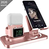 AICase 3 in 1 Dock Supporto per iPhone e A pple iWatch e Airpods, Dock per Caricabatterie Airpods PRO, Supporto Tablet per Desktop per Airpods,iWatch(5/4/3/2/1) (Oro Rosa)