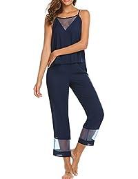 Ekouaer Conjunto de Pijama de Tirantes Mujer Camisones 2 Piezas Top y Pantalones Cuello V Ropa de Dormir