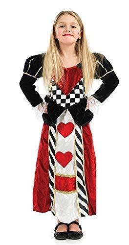 Mädchen Kinder Lang Länge Königin der Herzen Alice Im Wunderland Büchertag Kostüm Kleid Outfit (6-8 Jahre)