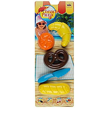 Preisvergleich Produktbild Bäcker-Set bestehend aus einem Baguette, einem Brotmesser, einem Croissant, einem Brötchen und einer Brezel Sandspielzeug