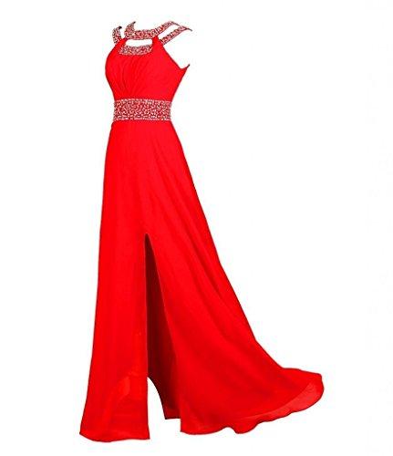 CoutureBridal® Robe Maxi de soirée robe sexy en chiffon décoré des bijoux artificiels Noir