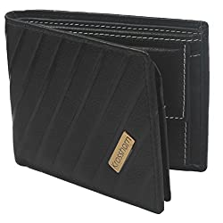 Krosshorn Leather Black Casual Regular Wallet (KW1076)