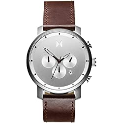 MVMT Chrono Clock Series - 45 mm Silver/Brown Leather