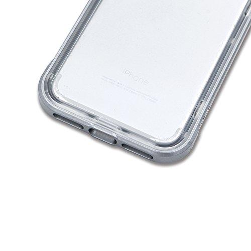 Custodia per Apple iPhone 7 Plus / iPhone 8 Plus Trasparente Silicone Morbido - Oro Gold Girlyard 2 in 1 Crystal Clear Flessibile Back Cover in TPU TPU + Rigida Dura Plastica Protettiva Case Coperture Grigio