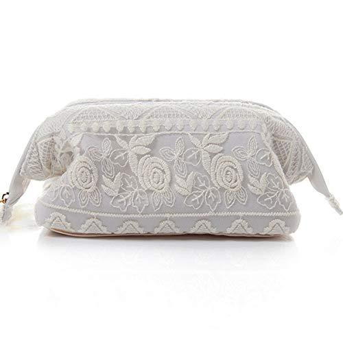 Sweet Lace Kosmetiktasche, Blended bestickte Handtasche, Reißverschluss Aufbewahrungstasche, Handtasche, kleine Kosmetiktasche, grau (Oxford Blended)