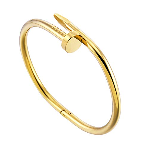 ALUN Armband Stil Gold Silber Zink-Legierung Nagel Armband Frauen Edelstahl Manschette Armreif Schmuck Paar Armbänder