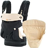 Ergobaby 360 All Carry Positions Bundle of Joy with Easy Snug Infant Insert Baby Carrier (Black/Camel)