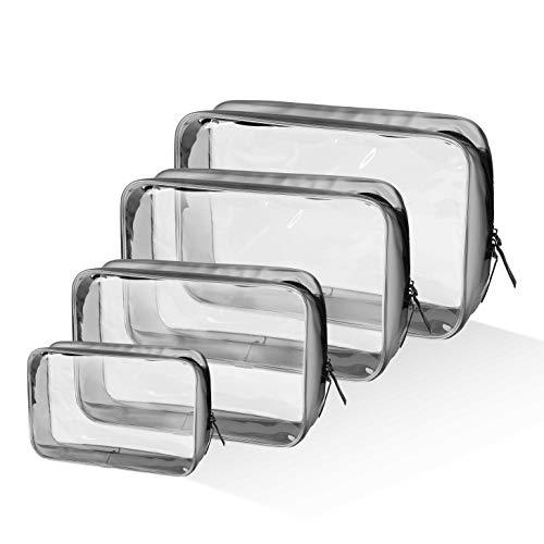 Borse da Toilette Unisex Trasparente in PVC Multi-Dimensioni Cerniera Sacchetto Impermeabile Cosmetici Trucco per Uomini e Donne 4 Pcs