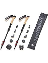 Premium 100% Carbon Wanderstöcke - Trekkingstöcke - verstellbar mit Teleskop und Klemmverschluss mit extra Gummipuffer und Tragebeutel