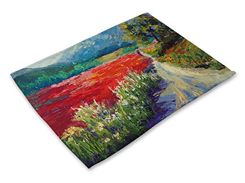(Sucastle 4er Set Platzdeckchen Abwaschbar Tischsets Baumwolle und Leinen Tischunterlagen 42x32cm-Aquarell Schönheit)