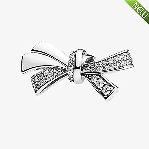 PANDOCCI 2018 Regali per la festa della mamma brillante fascino dell'arco, Clear CZ Bead 925 argento fai da te adatta per...
