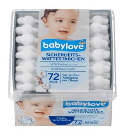 babylove Sicherheits-Wattestäbchen, 720 Stück (10x 72er Pack)