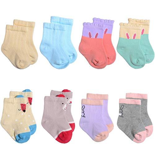 YWLINK Baby MäDchen Jungen Baumwolle Süß SöCkchen Kinder Kleinkinder Socken Bequem 8 Pairs 0-3 Jahre