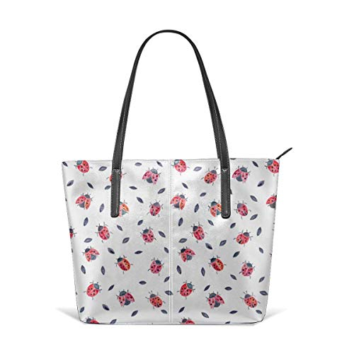 xcvgcxcbaoabo Mode Handtaschen Einkaufstasche Top Griff Umhängetaschen Lucky ladybugs black leaves Leather Tote Large Purse Shoulder Bag Portable Storage HandBags Convenient Shoppers Tote