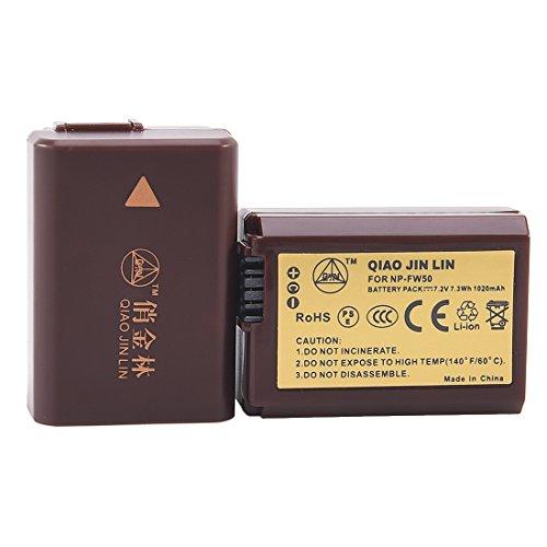 QIAOJINLIN 2-Pack Ersatz Batterie Akku Compatible für Sony NP-FW50 FW50