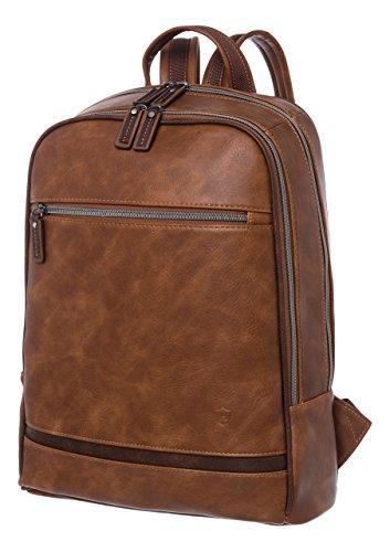 VON HEESEN Laptop-Rucksack bis 15,4 Zoll I 2 Fächer I Business-Rucksack mit gepolstertem Notebook & iPad-Fach aus Kunstleder für Damen & ...