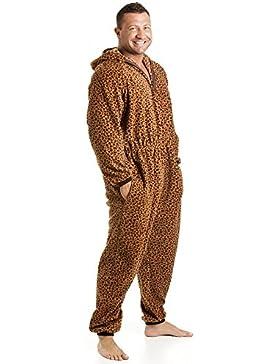 Camille - Pijama polar de una pieza de hombre - Estampado de leopardo - Caramelo
