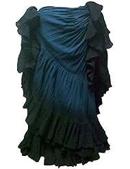 El más oscuro del trullo Azul Negro Limita con 25 yarda yardas tribal del baile gitano de la danza del vientre falda 09