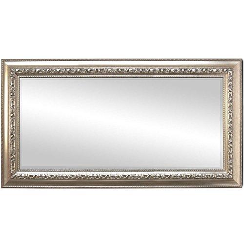 WOHAGA® Eleganter Spiegel Wandspiegel Barspiegel Flurspiegel Garderobenspiegel Frisierspiegel mit Facettenschliff und Verzierungen Silbergold - 170x70cm