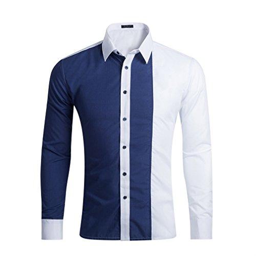 Honghu Slim Fit Cuello de la Camisa Clásica Business Camisas Manga Larga para Hombre Medium Azul oscuro