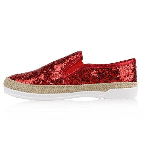 Damen Bast Sneakers Pailletten Slipper Glitzer Slip-ons Rot