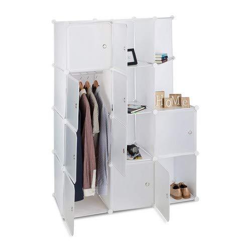 Cd-ablage-metall-schrank (Relaxdays Regalsystem mit 10 Türen, DIY, Cubes, Ablagen, Kleiderstange, Kunststoff, Metall, HBT: 146x110x46 cm, weiß)
