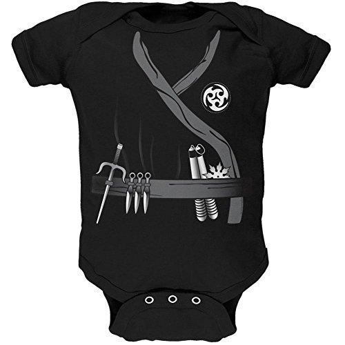 Halloween-Ninja Assassin Kostüm Schwarz weiches Baby 1 Gepäckstück - 9-12 (Kostüme Tshirt Ninja)