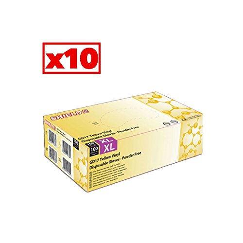 Guanti in vinile giallo Shield2–Cartone Di 10scatole di 100–AQL–gd17j _ 10