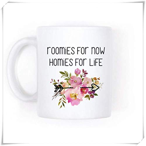 WYYCLD - Cute Roommate Gift, Roomies for Now Homies for Life, 11oz Ceramic Coffee Mug, Unique Gift 12 Oz White Foam Cups