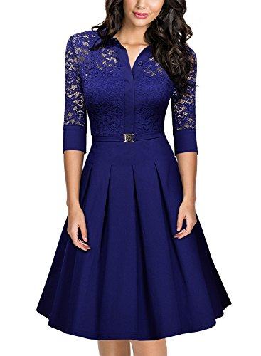 Miusol Damen Spitzen 3/4 Aermel Elegant Revers Cocktailkleid 1950er Jahre Faltenrock Party Kleid Hellblau Gr.M
