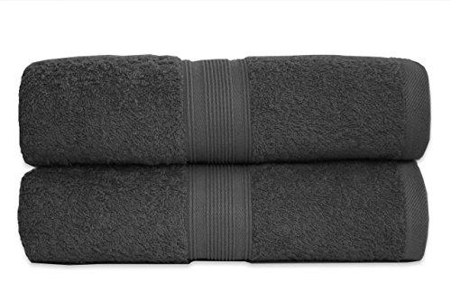 2er Pack Frottier Duschtücher Set 70x140cm - Qualität 500 g/m² - 100% Baumwolle in vielen modernen Farben (Anthrazit / Grau)