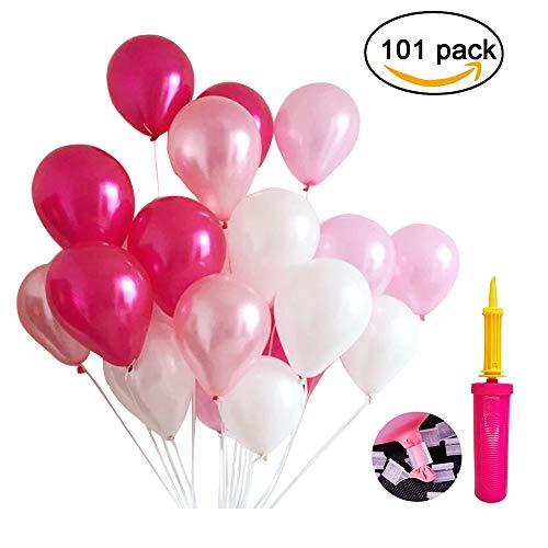 Erlliyeu BQQ100 100 Stücke 12 Zoll Rosa Reihen Ballone Perle Latex Luftballons für Hochzeitsfest Dekorationen, 4 Farben (Pink)