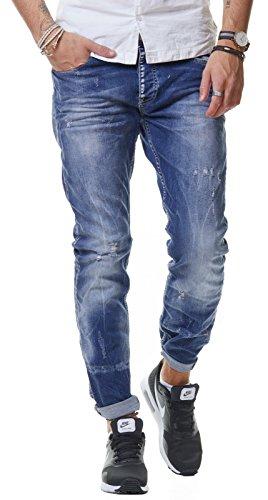 RedBridge Herren Jeans Hose Denim Slim Fit Destroyed Zerrissen Distressed Verwaschen Blau Grau M4080 M4081 Blau