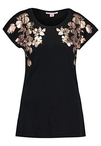 funktionsbluse damen kurzarm Anna Field Damen T-Shirt mit Muster – Damenshirt elegant mit kurzem Arm, Schwarz in Größe 42
