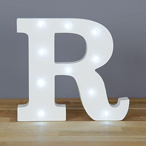 Alfabeto decorativo Up in Lights, LED, letras de madera blancas