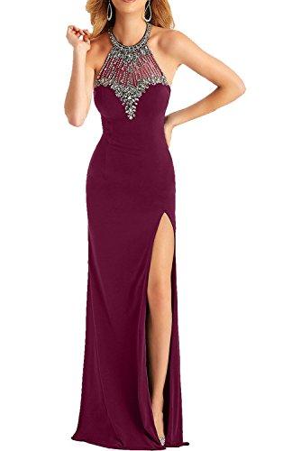 Milano Bride 2017 Neu Weinrot Chiffon Abendkleider Partykleider Promkleider mit Strasse Steine Abschlussball Dunkel Fuchsia