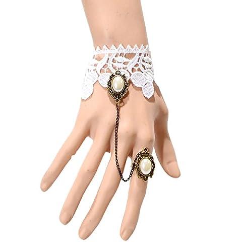 Frau Polyester-Spitze Einfach Armband Art Und Weise Verstellbar Schmuck,White-L