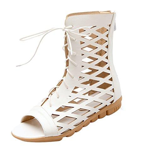 UH Sandales Bottes Femmes Creux Classique de Retour Zip et Lacets Fermeture Peep Toe Talons Plates Blanc
